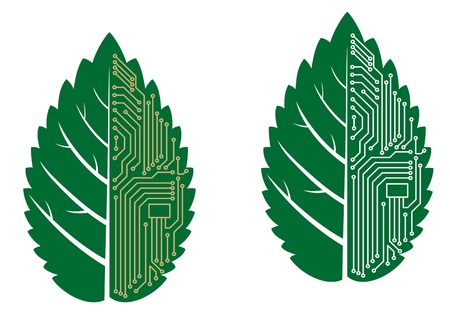 electronic background: Green leaf with computer and motherboard elements for technology concept Illustration