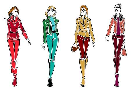 moda casual: Bocetos de modelos de moda con un trapo mujer y accesorios Vectores