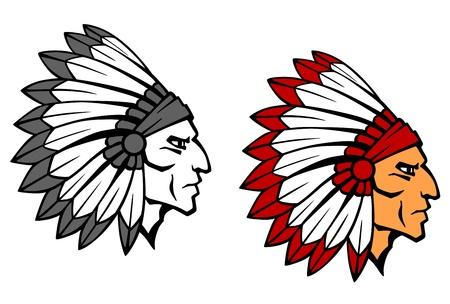 indio americano: Cabeza Valiente guerrero indio para la mascota o el diseño del tatuaje Vectores