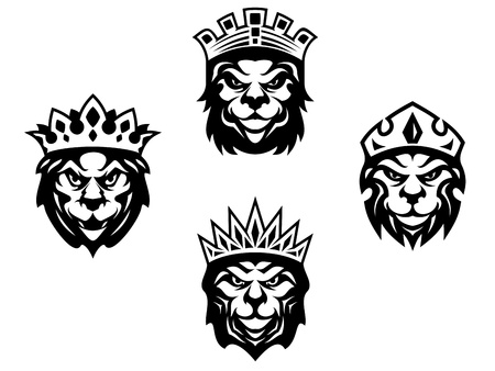 crown tattoo: Majestic lions with crowns for heraldry design