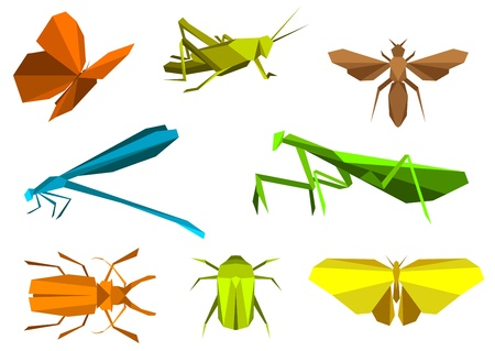 Insects set in origami paper elements isolated on white background