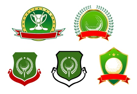 Golf sport icons, emblems and signs for heraldic design Vector