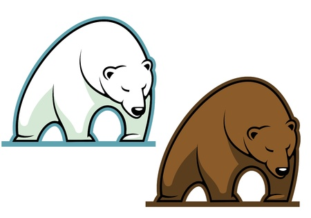 grizzly: Big kodiak bear in cartoon style for sports mascot Illustration