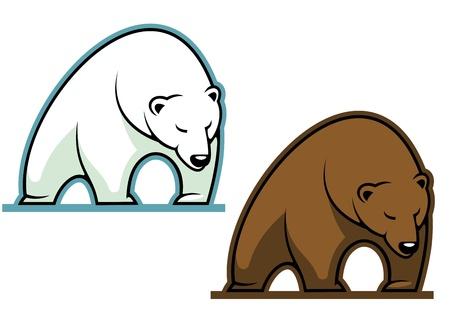oso caricatura: Gran oso kodiak en estilo de dibujos animados de mascota de los deportes