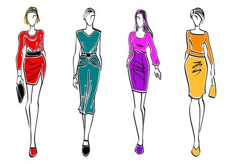 moda casual: Modelos de moda casual aislado sobre fondo blanco