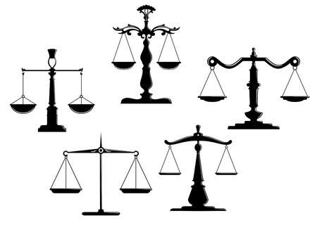 balanza en equilibrio: Retro escalas de la justicia establece aislado sobre fondo blanco