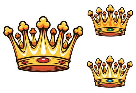 crown silhouette: Royal King corona con elementi in oro e gioielli Vettoriali
