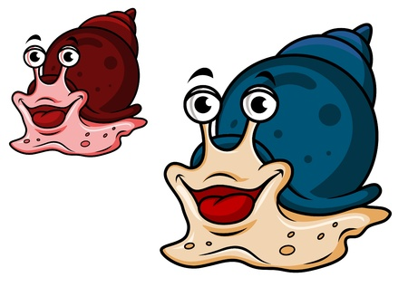 slippery: Smiling cartoon snail in two variations isolated on white Illustration