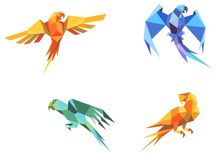 Set of parrots birds in origami paper style Vector