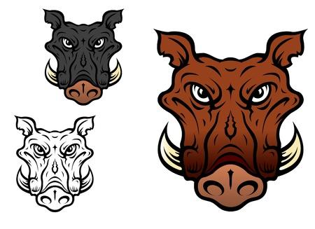 sanglier: Le sanglier ou de porc dans le style bande dessin�e pour mascotte de l'�quipe sportive