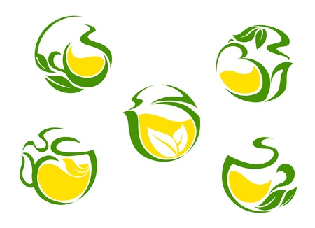 Tea symbols with lemon and green leaves for beverages design Vector