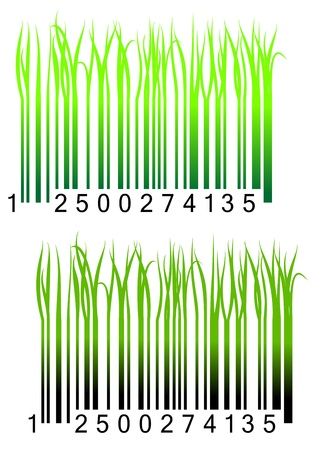 Bar code with fresh green grass for conceptual design Stock Vector - 17902353
