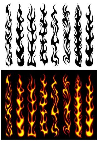 Conjunto de llamas tribales naranja y negro para el diseño del tatuaje