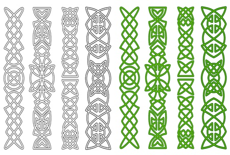 Green celtic ornaments and elements for medieval embellishments Illustration