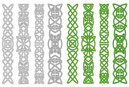 Groene Keltische ornamenten en elementen voor middeleeuwse versieringen