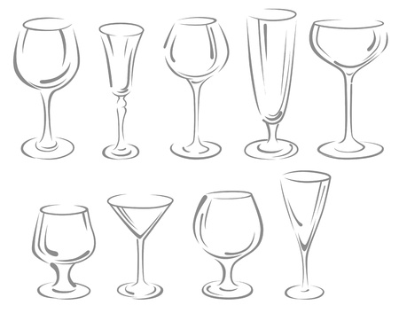 martini glass: Alcohol and beverage glasses set isolated on white background