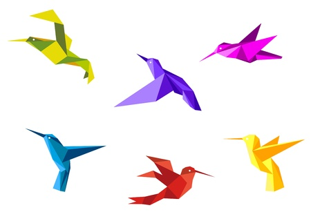 origami paper: Doves and hummingbirds set in origami paper style