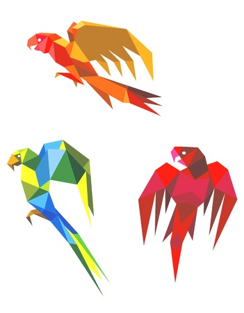 Abstract flying origami parrots isolated on white background Vector