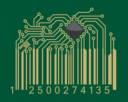 Bar code with computer motherboard elements for technology concept design Vector
