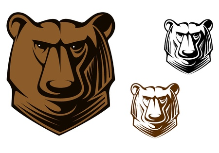 Brown kodiak bear head for sports team mascot or tattoo design Vector
