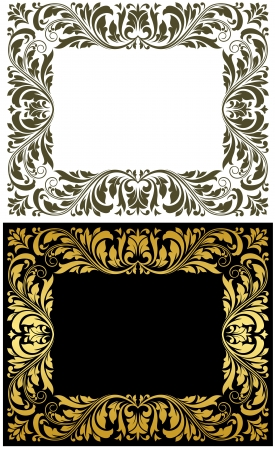 ornamental shield: Retro frames with golden embellishments for design