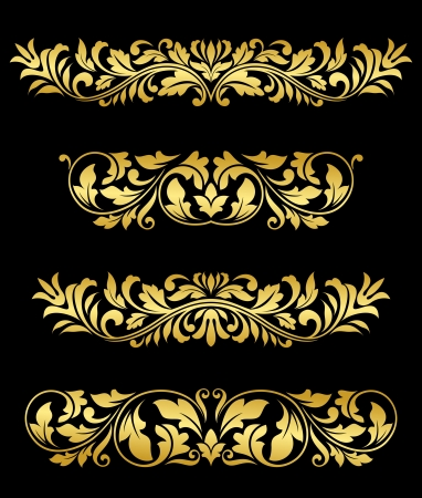 Retro gold floral elements and embellishments set for design and decorate Vector