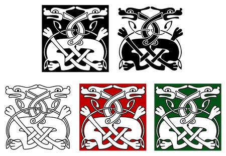 Celtic ornament elements and embellishments with wild angry dogs Vector