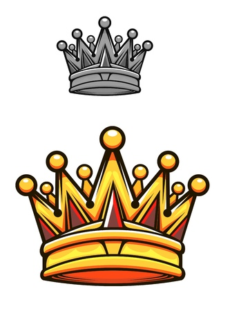 gold crown: Vintage royal crown in cartoon style for heraldry design Illustration