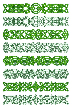 Green celtic ornament elements for embellishments and design Vector