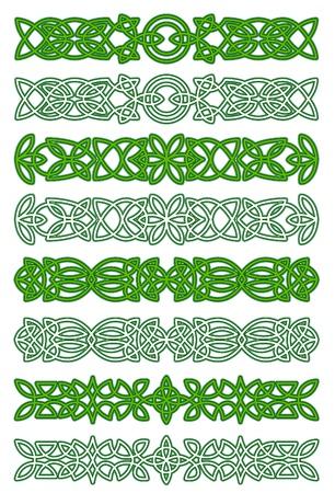 Verde céltico elementos de ornamento adornos y diseño Ilustración de vector