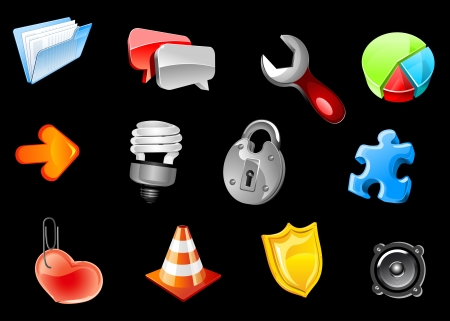 Glossy icons set for web and internet design Vector
