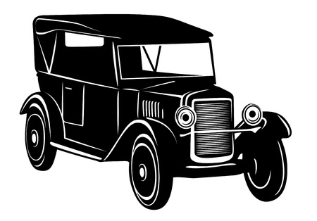 black car: Vintage car of 1920s years for retro design