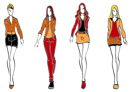 supermodel: Casual fashion models in sketch style for teenager clorh design