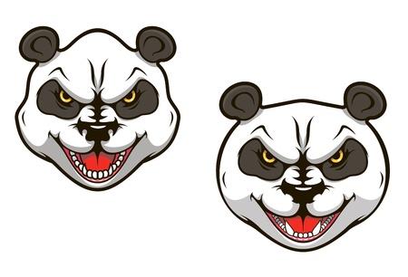 oso panda: Panda oso enojado cabeza para el diseño de la mascota de los deportes Vectores