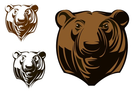 head for: Big grizzly bear head in cartoon style for sports mascot design Illustration