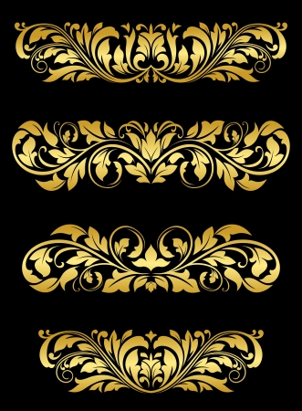Golden floral embellishments and patterns for luxury design Stock Vector - 18118618
