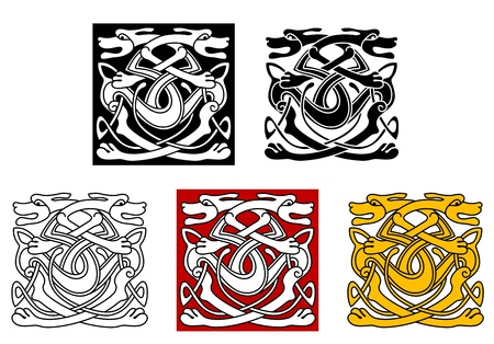 Dogs ornamental pattern in celtic style for tattoo or another design Vector