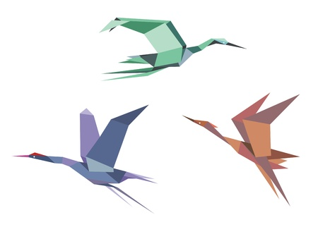 herons: Herons, cranes and storks in origami style isolated on white background