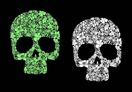 voodoo: Floral human skull for death or halloween design Illustration