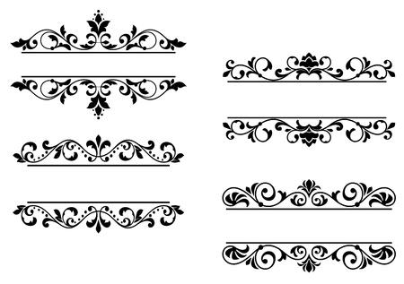 Encabezados florales y fronteras en estilo retro
