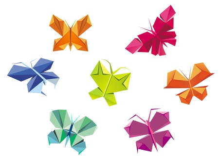 Colorful decorative butterlies in origami paper style isolated on white background Illustration