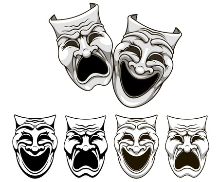 Tragedy and comedy theater masks set in cartoon style Vector