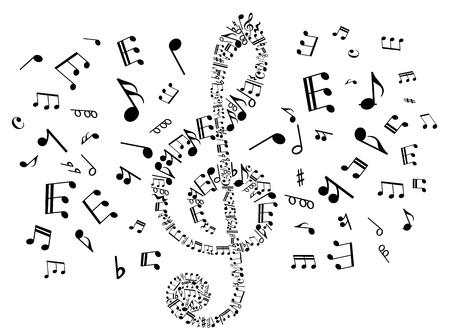 musical notes: Clef musical con elementos de las notas para el diseño de arte