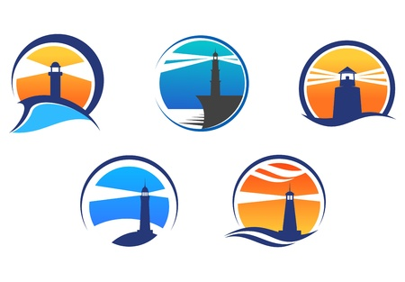 Lighthouse: Colorful lighthouse symbols set isolated on white background for any navigation concept