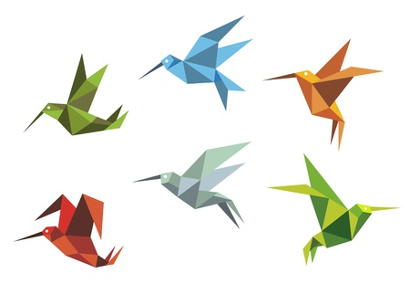 Colorful flying hummingbirds in origami style isolated on white background Vector