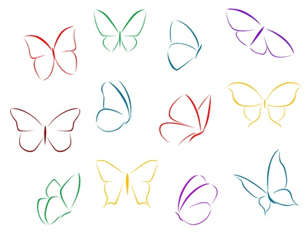 moths: Butterflies silhouettes isolated on white background for fragility concept design Illustration