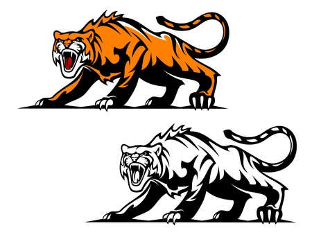 Aggressive tiger in hunting pose for mascot design Vector