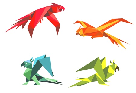Colorful parrot birds in origami style isolated on white background Vector