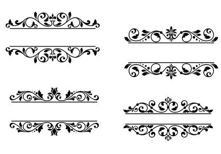 monogram: Header frame with retro floral elements for monogram or vignette design