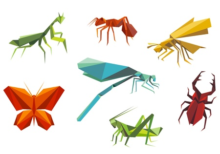 grasshopper: Insects set in origami style isolated on white background Illustration